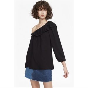 French Connection Black One Sleeve Ruffle Top
